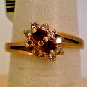 14K Yellow Gold Diamond Chipped Ruby Ring .1TCW 2